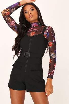 I SAW IT FIRST Black Buckle Belted Playsuit
