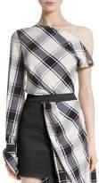 Monse Plaid Stretch Silk One-Shoulder Top