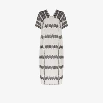 Pippa Holt zigzag embroidered cotton kaftan dress