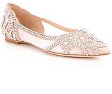 Badgley Mischka Gigi Rhinestone-Embellished Pointed-Toe Satin Flats