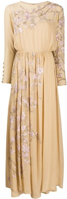 Valentino Pre Owned 1970s Floral Embroidered Dress
