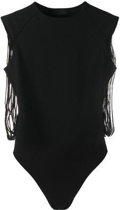 Diesel Black Gold Studded Fringe Back Bodysuit