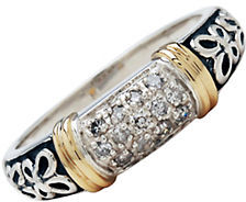 Lord & Taylor Sterling Silver and 14 Kt. Yellow Gold Ring with Diamond Accents