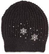 Jennifer Behr Crystal Snowflake Knit Beanie Hat