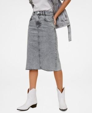 MANGO Faded Denim Skirt