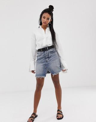 Cheap Monday Shrunken denim skirt-Blue
