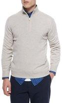 Brunello Cucinelli Cashmere Quarter-Zip Pullover Sweater, Light Brown