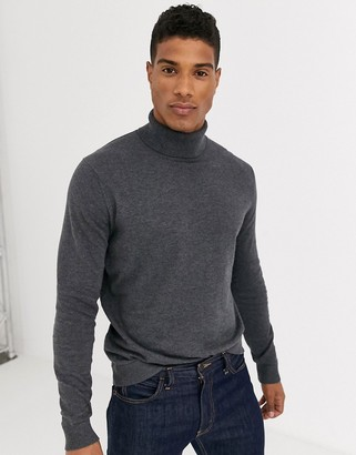 Selected cotton knitted roll neck in grey