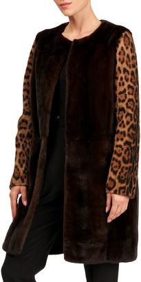 Yves Salomon Mink Fur Stroller Coat w/ Shearling Lamb Sleeves