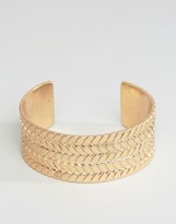 Asos Plaited Bangle In Gold