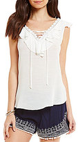 I.N. San Francisco Lace-Up V-Neck Crochet-Trim Ruffle Top