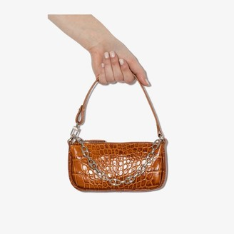 BY FAR Brown Mini Rachel mock croc leather shoulder bag