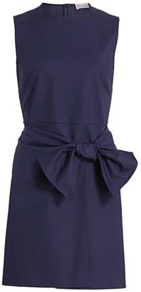 RED Valentino Bow-Waist Stretch Cotton Sheath Dress