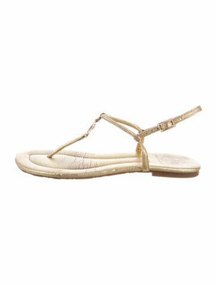 Tory Burch Leather T-Strap Sandals Gold
