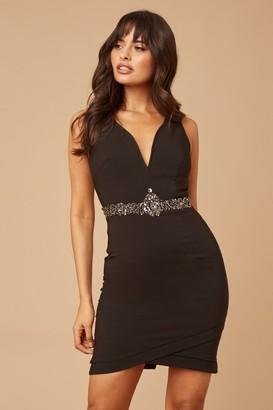 Little Mistress Black Plunge Jewel Waist Bodycon Dress