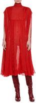 Valentino Mock-Neck Pleated Chiffon Dress