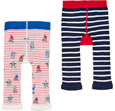 Joules Baby Lively Footless Leggings, Pack of 2, Cream/Red