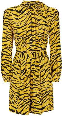 Saint Laurent Zebra Print Wrap Dress