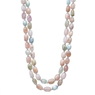 Sterling Silver Multicolor Morganite Beaded Double Strand Necklace