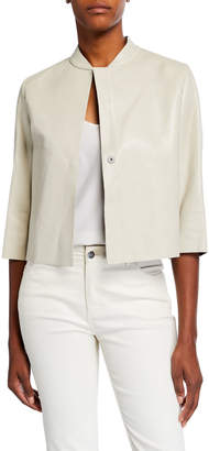 Brunello Cucinelli Leather Half-Sleeve Jacket
