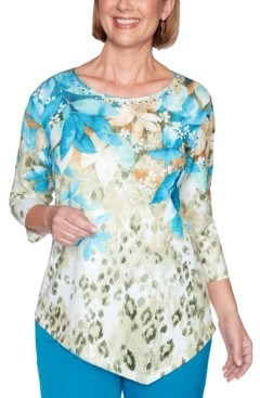 Alfred Dunner Petite Printed Point-Hem Knit Top