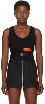 Heron Preston Black Knit Glow Belt Top