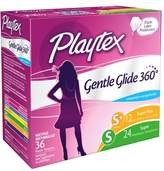 Playtex Gentle Glide 360 Degree Plastic Tampons Multi-Pack Unscented, 24 Super & 12 Super Plus