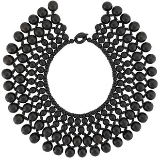 Josie Natori Beaded Wood Necklace