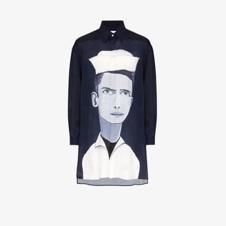 Uniforme Sailor Print Oversized Shirt