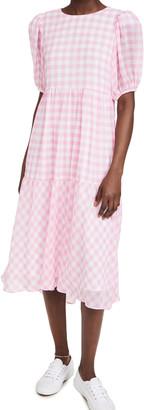 ENGLISH FACTORY Gingham Print Midi Dress