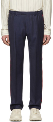 Gucci Blue Wool Fine Dots Trousers