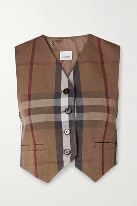 Burberry Cropped Checked Canvas And Satin-jacquard Vest - Brown
