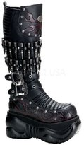 Demonia by Pleaser Women's BOXER-201 adjustable straps Knee High Cyber Platform Boot