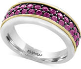 Effy Men's Ruby Band (1-1/2 ct. t.w.) in Sterling Silver, 18k Gold and Black Rhodium