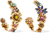 Elizabeth Cole Gold-tone crystal and resin earrings