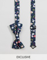 Reclaimed Vintage Inspired Bow Tie In Blue Floral Print