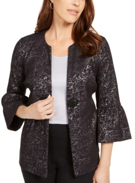 JM Collection Metallic Jacquard Bell-Sleeve Jacket, Created For Macy's