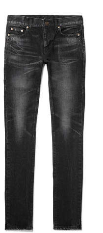 Saint Laurent Skinny-Fit Distressed Denim Jeans
