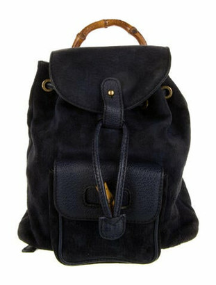 Gucci Vintage Mini Suede Bamboo Backpack Navy