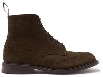 Tricker's Stow Suede Brogue Boots - Khaki