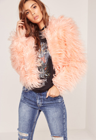 Missguided Pink Mongolian Faux Fur Coat