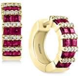 Effy Amoré by Certified Ruby (1-9/10 ct. t.w.) and Diamond (1/5 ct. t.w.) Hoop Earrings in 14k Gold