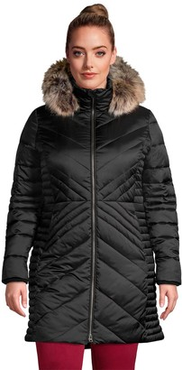 Lands' End Plus Size Faux-Fur Hood Insulated Plush Lined Winter Coat