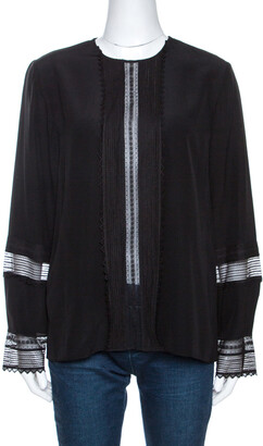 Chloé Black Silk Lace Paneled Long Sleeve Blouse L