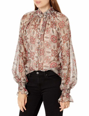 Ramy Brook Women's Printed Collin Button Down Long Sleeve Top