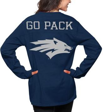 Women's Pressbox Navy Nevada Wolf Pack The Big Shirt Oversized Long Sleeve T-Shirt