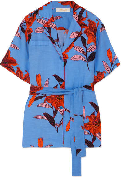 Diane von Furstenberg Belted Floral-print Twill Shirt - Blue