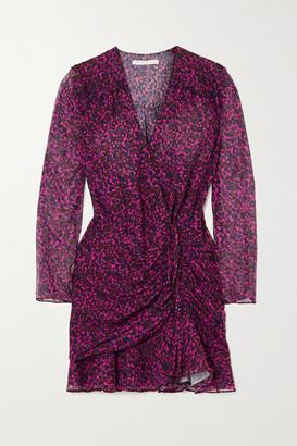 Veronica Beard Anjali Wrap-effect Ruched Floral-print Silk-chiffon Mini Dress - Red