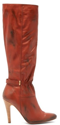 MARC JACOBS, RUNWAY Marc Jacobs Runway - Ruched-front Distressed-leather Boots - Dark Red