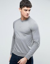 Armani Jeans Emboss Logo Sweatshirt Crewneck Regular Fit Lightweight in Gray